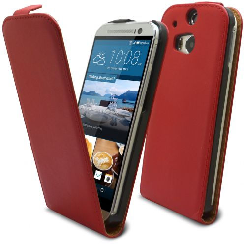Clamshell Flip Case for HTC One M8 Eco Leather Red