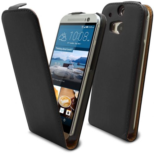 Clamshell Flip Case for HTC One M8 Eco Leather Black