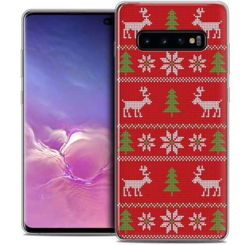 """Extra Slim Crystal Gel Samsung Galaxy S10+ (6.4"""") Case Noël 2017 Couture Rouge"""