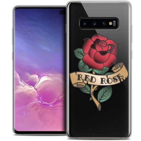 "Extra Slim Crystal Gel Samsung Galaxy S10+ (6.4"") Case Tatoo Lover Red Rose"