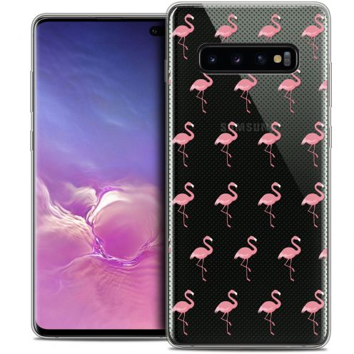 "Extra Slim Crystal Gel Samsung Galaxy S10+ (6.4"") Case Pattern Les flamants Roses Dots"