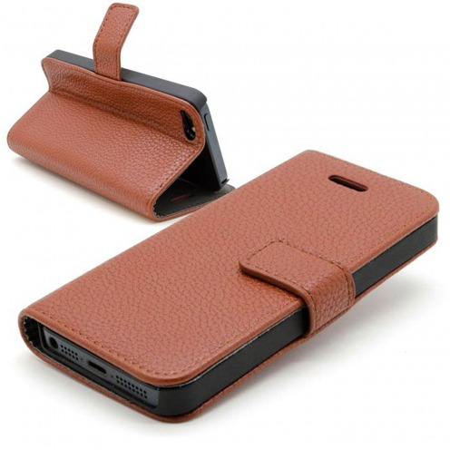 iPhone 5 Smart Cover Stand case full grain leatherette brown
