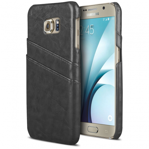 Leather Business Cover Black case for Galaxy S6 with Card slot