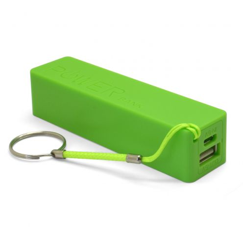 External Battery PowerBank 1A - 1xUSB - 2600mAh - Green
