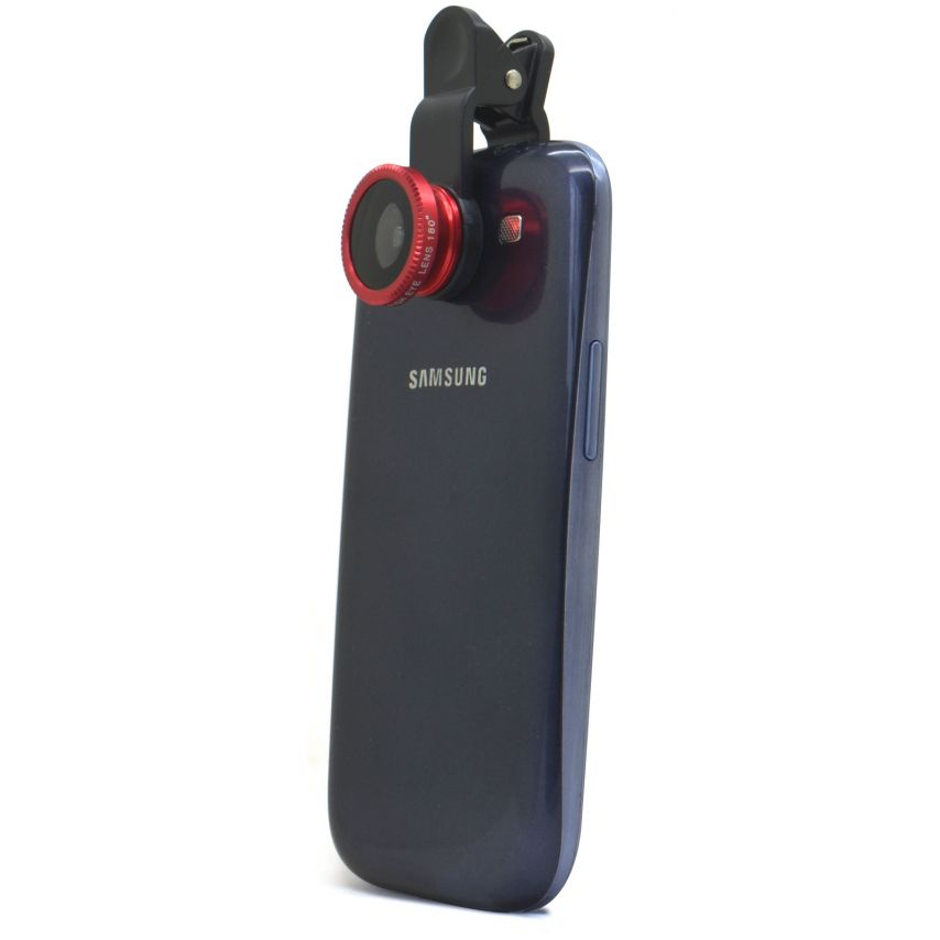 Macro + Wide-Angle + Fishe Eye 3 in 1 Clip-Lens for smartphone