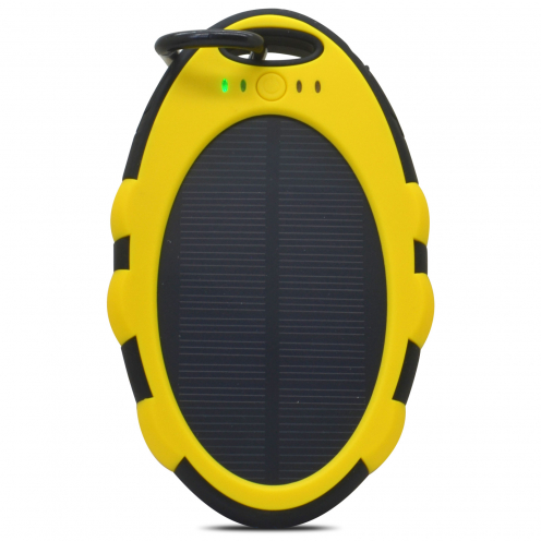 External Battery Solar panel PowerBank - 2xUSB1A - LED - 5000mAh Yellow