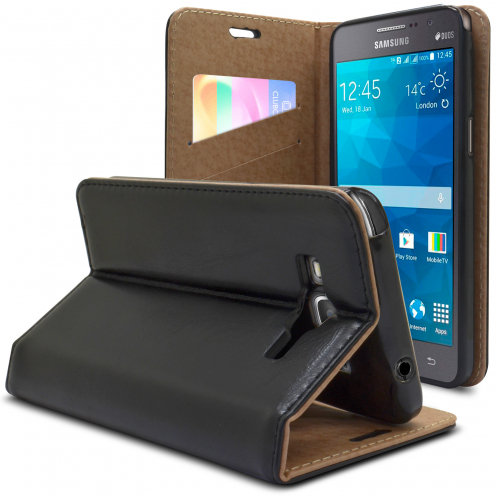 Folio Wallet Flexi Case Samsung Galaxy Grand Prime Genuine Leather Black