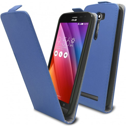 "Clamshell Flip Flexi Case for Asus Zenfone 2 Laser 5.5"" ZE550KL Eco Leather Blue"