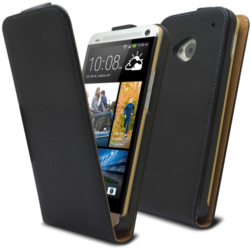 Clamshell Flip Case for HTC One M7 Eco Leather Black