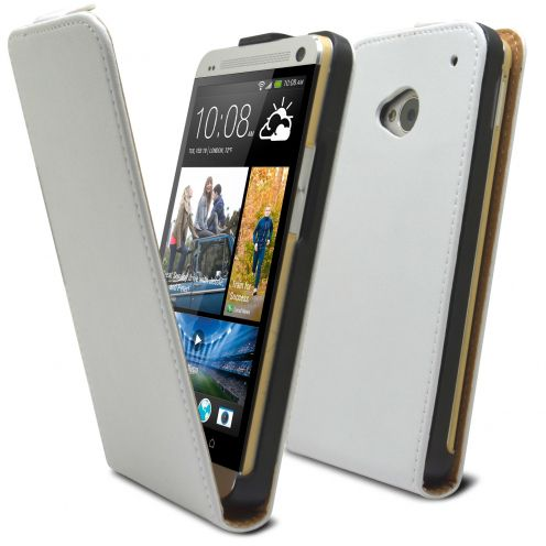Clamshell Flip Case for HTC One M7 Eco Leather White