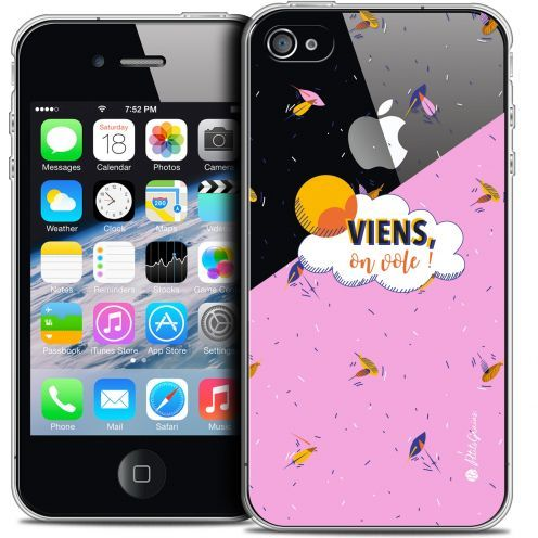 Extra Slim Crystal iPhone 4/4s Case Petits Grains® VIENS, On Vole !