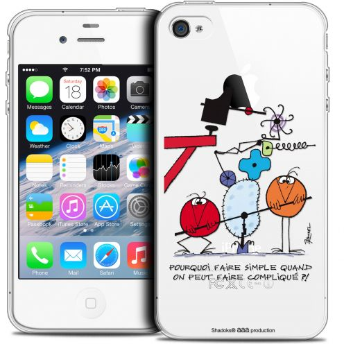 Extra Slim Crystal iPhone 4/4s Case Les Shadoks® Pourquoi faire Simple