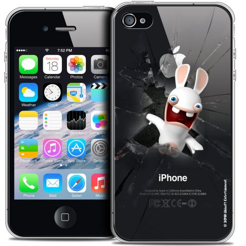 Crystal iPhone 4/4s Case Lapins Crétins™ Breaking Glass