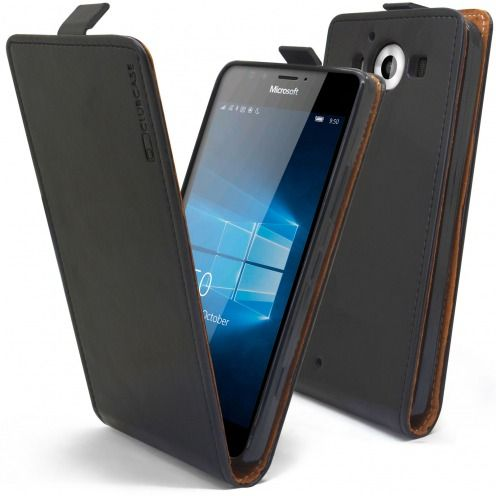 Clamshell Flip Flexi Case for Microsoft Lumia 950 Genuine Italian Leather Black