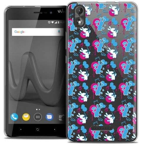 """Crystal Gel Wiko Lenny 4 PLUS (5.5"""") Case Lapins Crétins™ Rugby Pattern"""