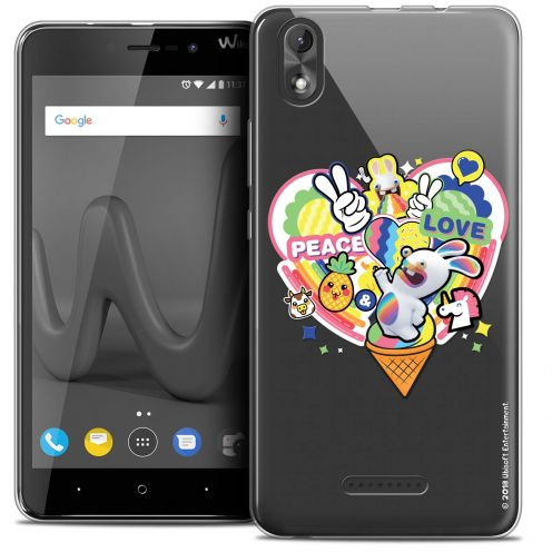 """Crystal Gel Wiko Lenny 4 PLUS (5.5"""") Case Lapins Crétins™ Peace And Love"""