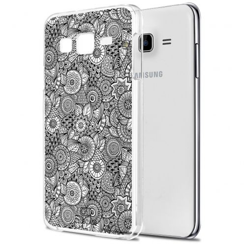 Extra Slim Crystal Galaxy J5 (J500) Case Case Floral Lace Collection - White