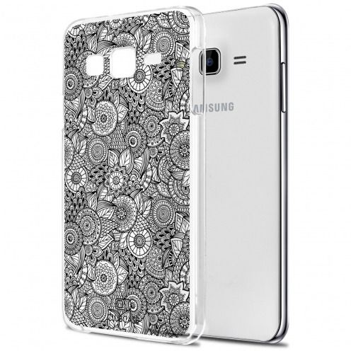 Extra Slim Crystal Galaxy J7 (J700) Case Case Floral Lace Collection - White