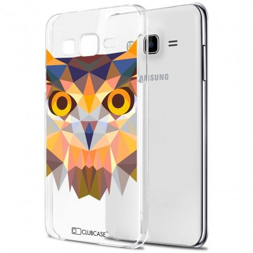 Extra Slim Crystal Galaxy J7 (J700) Case Polygon Animals Owl