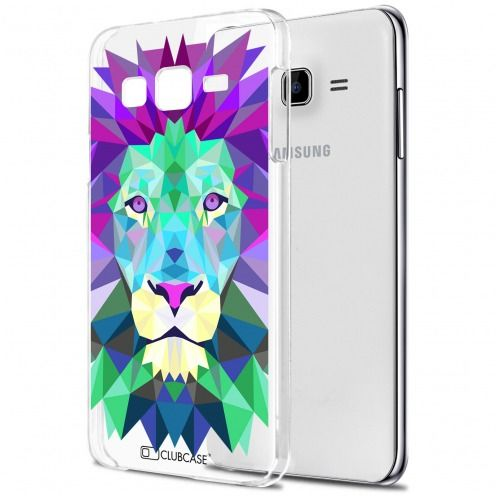 Extra Slim Crystal Galaxy J7 (J700) Case Polygon Animals Lion