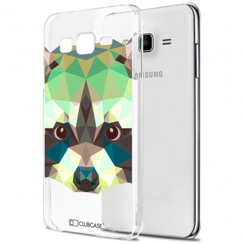Extra Slim Crystal Galaxy J7 (J700) Case Polygon Animals Racoon