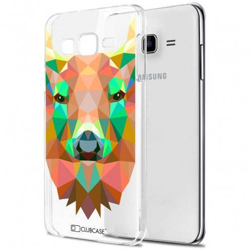 Extra Slim Crystal Galaxy J7 (J700) Case Polygon Animals Deer