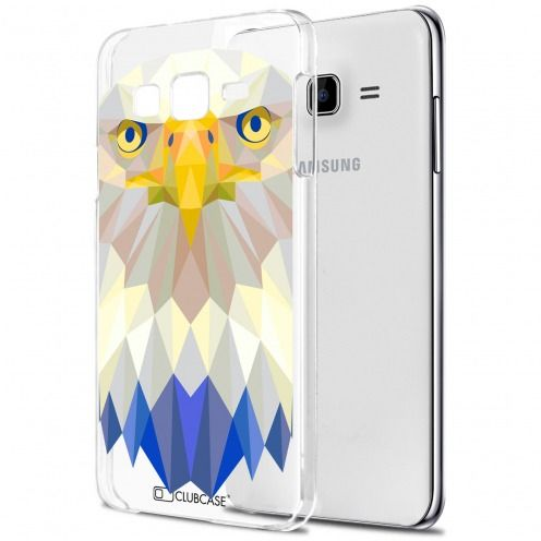 Extra Slim Crystal Galaxy J7 (J700) Case Polygon Animals Eagle