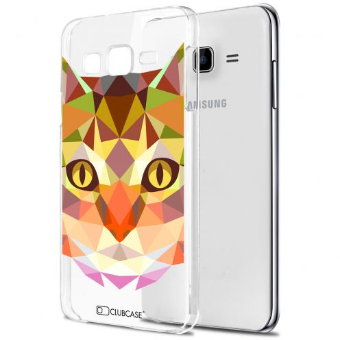 Extra Slim Crystal Galaxy J7 (J700) Case Polygon Animals Cat