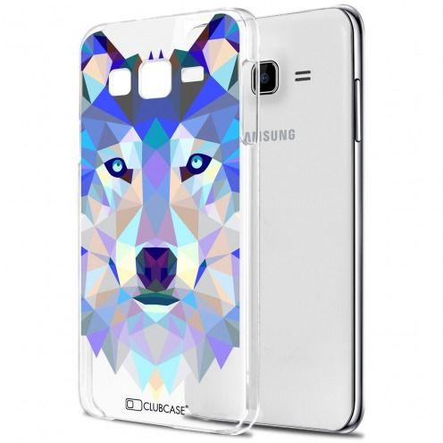 Extra Slim Crystal Galaxy J7 (J700) Case Polygon Animals Wolf
