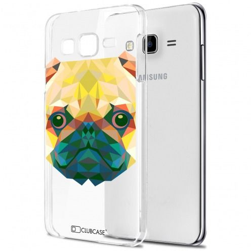 Extra Slim Crystal Galaxy J7 (J700) Case Polygon Animals Dog