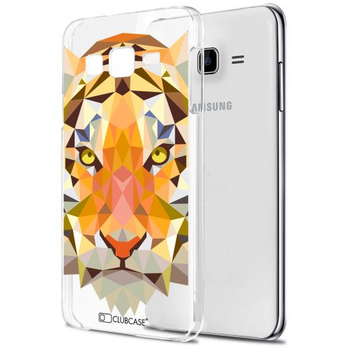 Extra Slim Crystal Galaxy J7 (J700) Case Polygon Animals Tiger