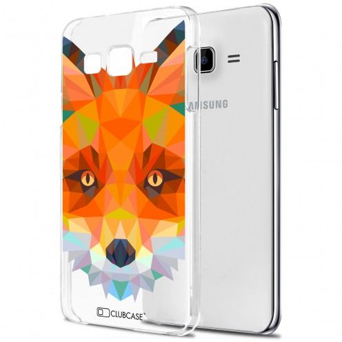 Extra Slim Crystal Galaxy J7 (J700) Case Polygon Animals Fox