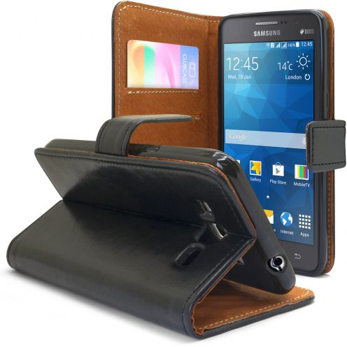 Folio Wallet Flexi Case for Samsung Galaxy Grand Prime Genuine Italian Leather Black