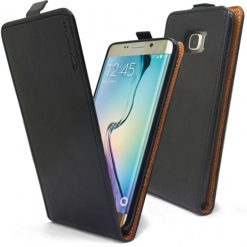 Clamshell Flip Flexi Case for Samsung Galaxy S6 Edge +/Plus Genuine Italian Leather Black