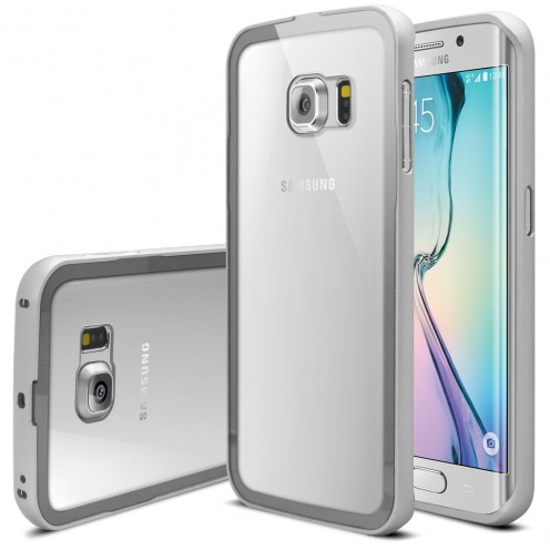 Samsung Galaxy S6 Edge +/Plus Aluminium Bumper with back window Silver