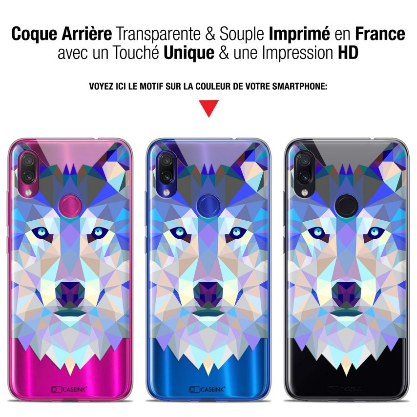 "Extra Slim Gel Xiaomi Redmi Note 7 (6.3"") Case Polygon Animals Wolf"