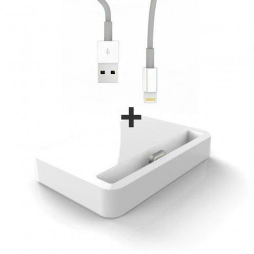 Dock station Charge & Sync for iPhone 5/5S/SE/5C Glossy white + cable