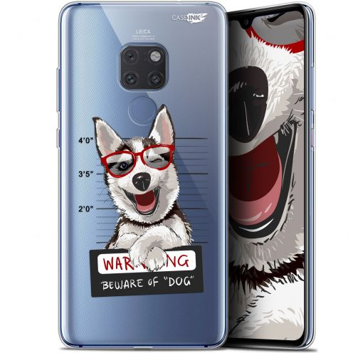 "Extra Slim Crystal Gel Huawei Mate 20 (6.5"") Case Design Beware The Husky Dog"