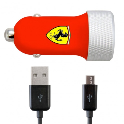 Car Charger 2xUSB Ferrari® 2.1A 12/24V With Micro USB