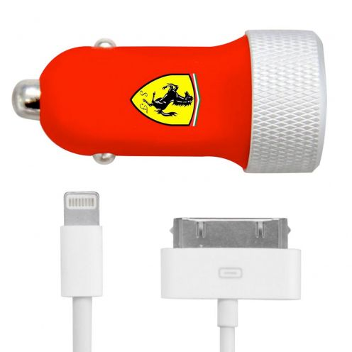 Car Charger 2xUSB Ferrari® 2.1A 12/24V With 2 iPhone cables