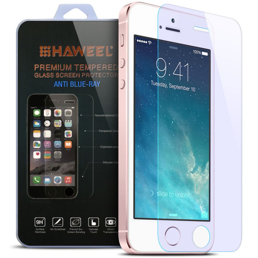 Anti Blue Ray Ultra HD 9H 0.33mm Tempered Glass Screen Protector for Apple iPhone 5/5s/SE