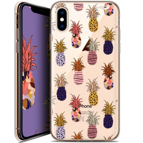 Extra Slim Crystal Gel Apple iPhone X (10) Case Design Ananas Gold