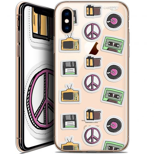 Extra Slim Crystal Gel Apple iPhone X (10) Case Design Vintage Stickers