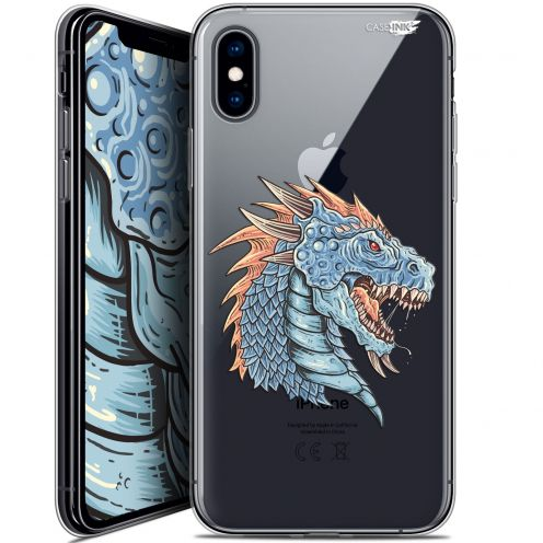 Extra Slim Crystal Gel Apple iPhone X (10) Case Design Dragon Draw
