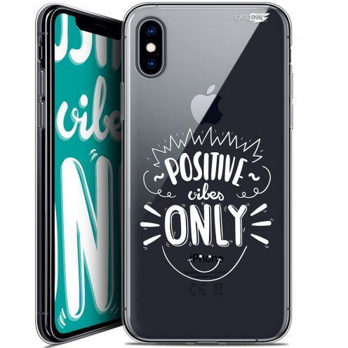 Extra Slim Crystal Gel Apple iPhone X (10) Case Design Positive Vibes Only