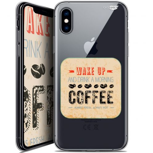 Extra Slim Crystal Gel Apple iPhone X (10) Case Design Wake Up With Coffee