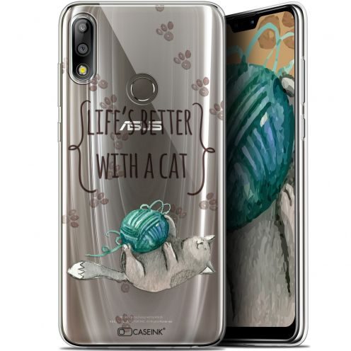 "Extra Slim Gel Asus Zenfone Max Pro (M2) ZB631KL (6.26"") Case Quote Life's Better With a Cat"