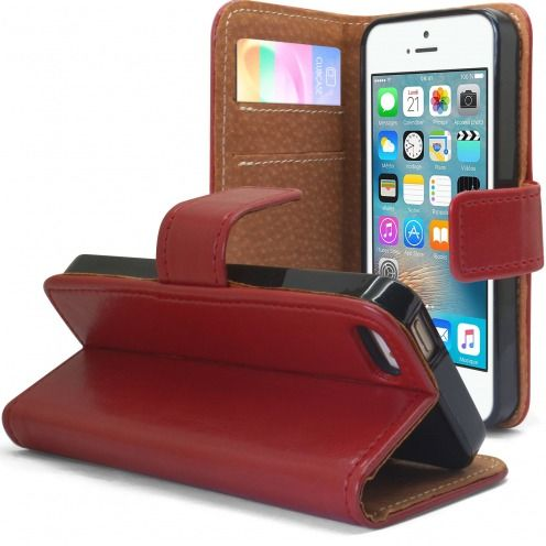 Folio Wallet Flexi Case for Apple iPhone 5/5S/SE Genuine Italian Leather Red