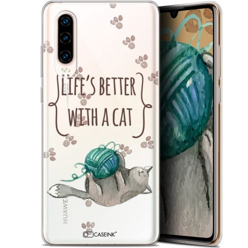 "Extra Slim Gel Huawei P30 (6.1"") Case Quote Life's Better With a Cat"