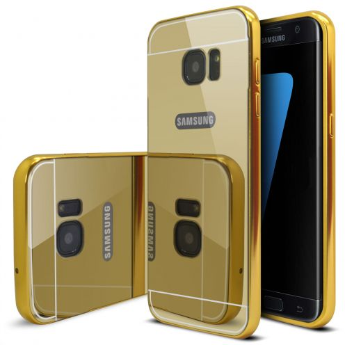 Samsung Galaxy S7 Edge Aluminium Bumper with back Mirror Gold
